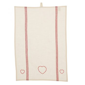 Red Hearts & Stripes Tea Towel PRIMARY IMAGE