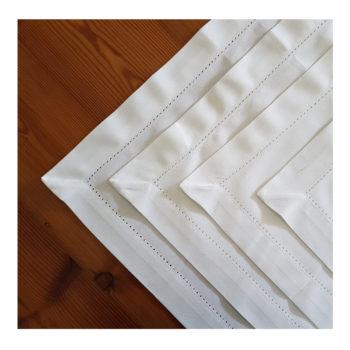White place mats hemstitch detail