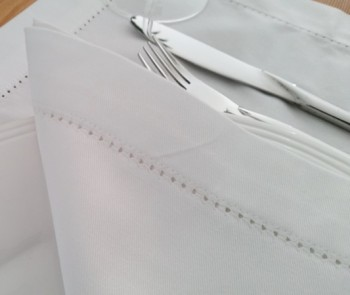 White napkins with hemstitch