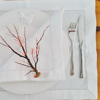 White place mats with hemstitch