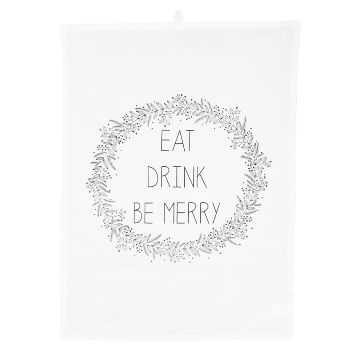 eat drink be merry tea towel