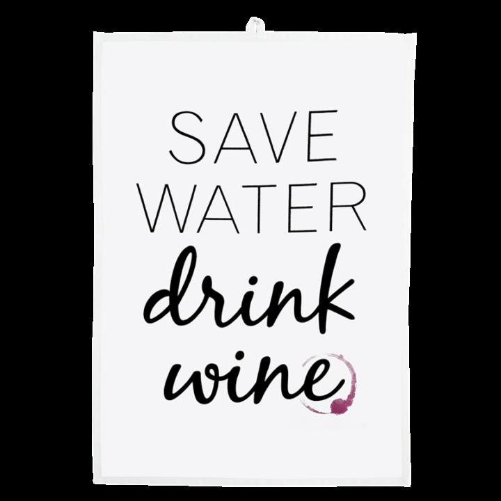 save water drink wine tea towel
