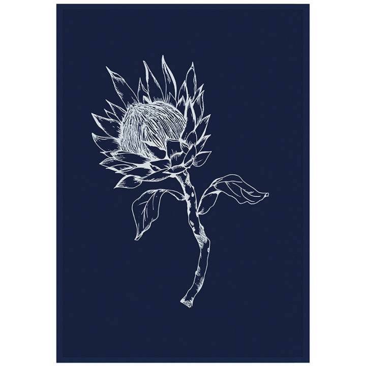 Navy King Protea Tea Towel