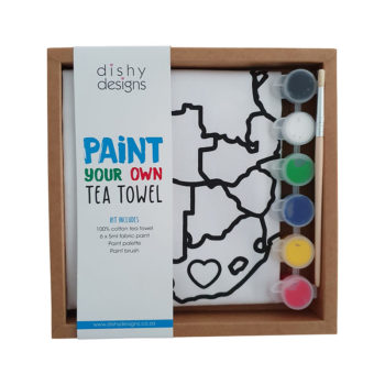 Paint Your Own tea towel Africa design in box