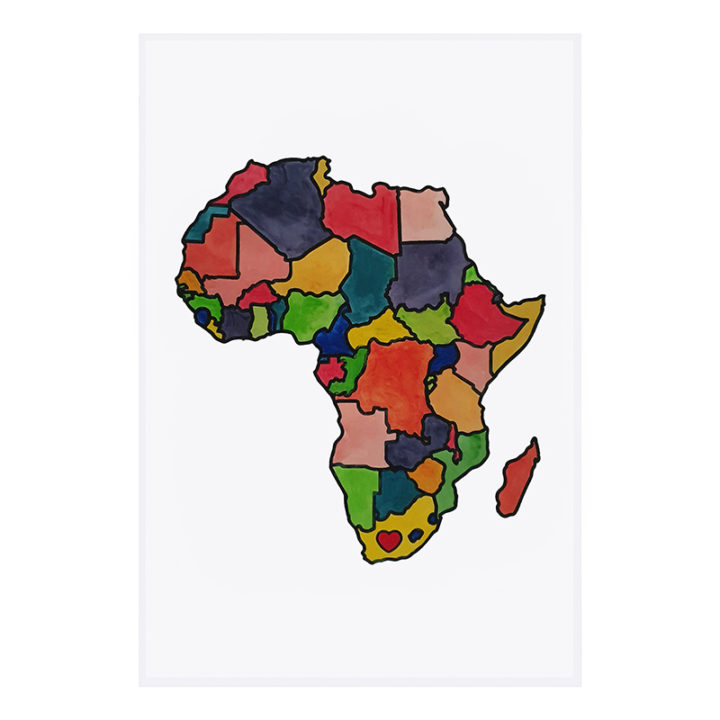 Painted PYO Africa tea towel